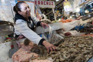 MÉXICO, D.F., 20DICIEMBRE2015.- Decenas de personas visitan el tradicional mercado de San Juan para surtir su lista de alimentos para la cena de navidad. Lo más ofertado es el pavo, el precio del kilo cuesta en la mayoría de los puestos 60 pesos y en promedio un ave pesa de 15 a 20 kilos, los comerciantes comentan que del 20 al 25 de diciembre se venden más de 150 pavos por día. FOTO: DIEGO SIMÓN SÁNCHEZ /CUARTOSCURO.COM