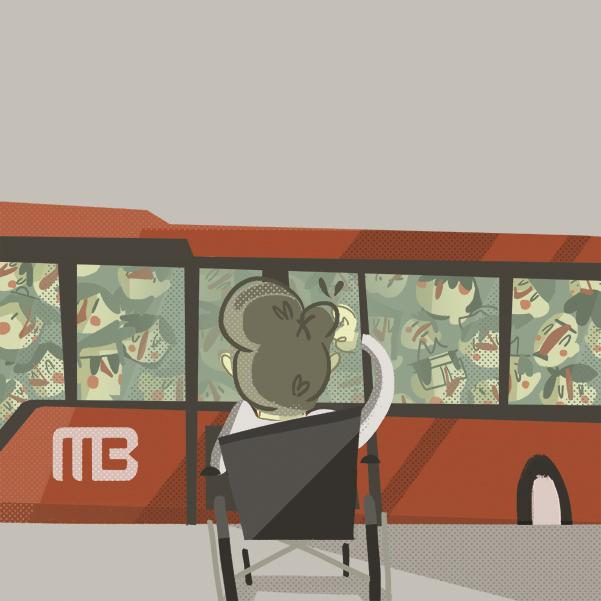 Un estudio revela que aunque el Metrobús cuenta con instalaciones para personas con discapacidad. Arte Michel Laris