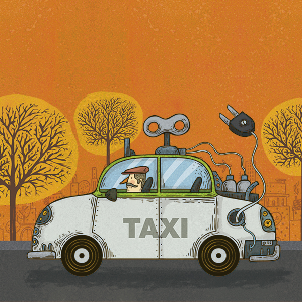 A partir de este año, quienes quieran renovar una concesión de Taxis en la CDMX tendrán que comprar un auto híbrido o eléctrico. Arte, Alberto Montt.